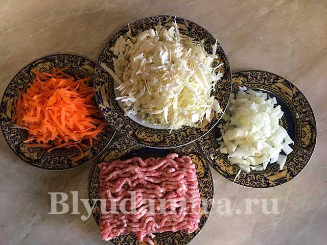 подготовленные продукты для блюда