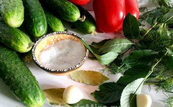 Огурцы, перец, соль, зелень и чеснок
