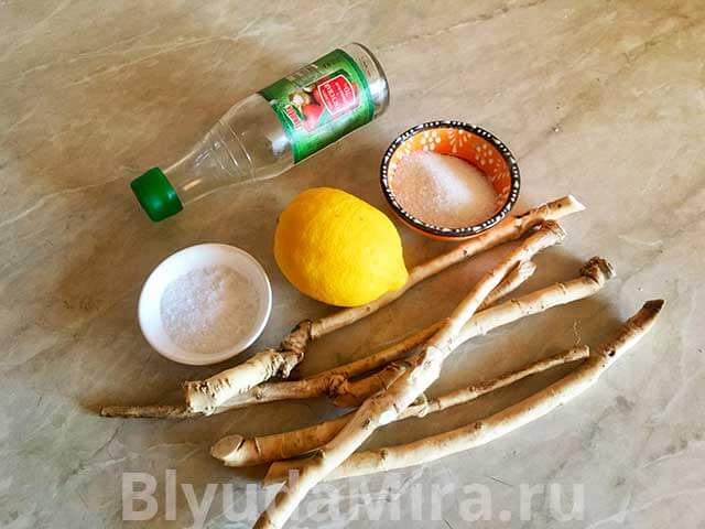 Лимон хрен соль сахар уксус