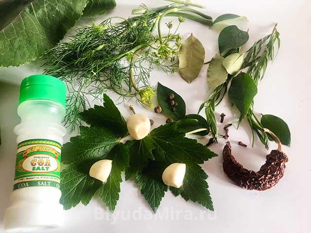 Соль,чеснок, укроп, лист смородины
