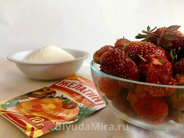 Сахар клубника и желатин
