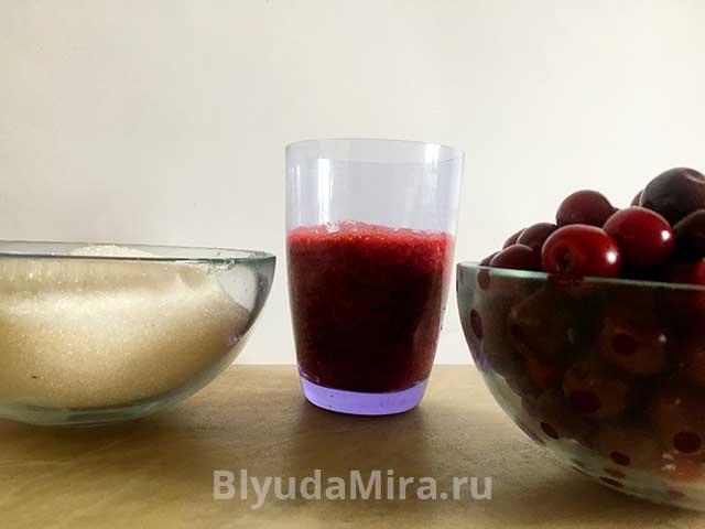 Вишня, сок и сахар