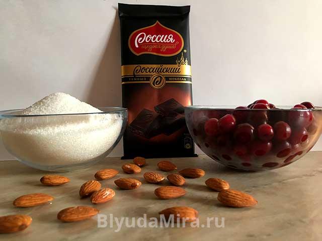 Вишня, шоколад, сахар и миндаль