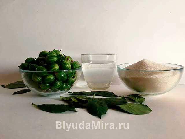 Крыжовник, вода, сахар, лист вишни
