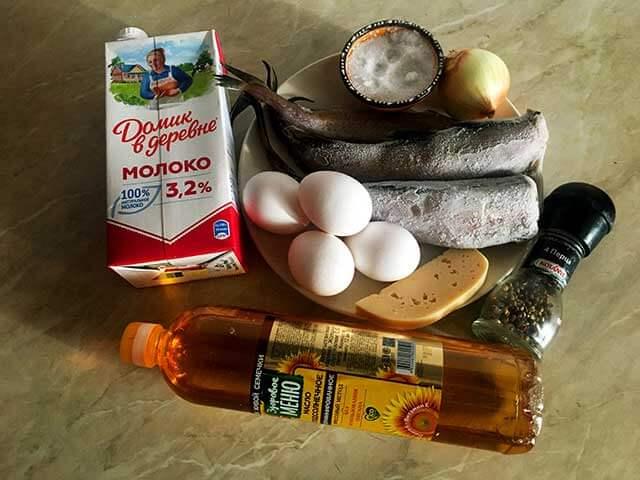 Ингредиенты для минтая в омлете