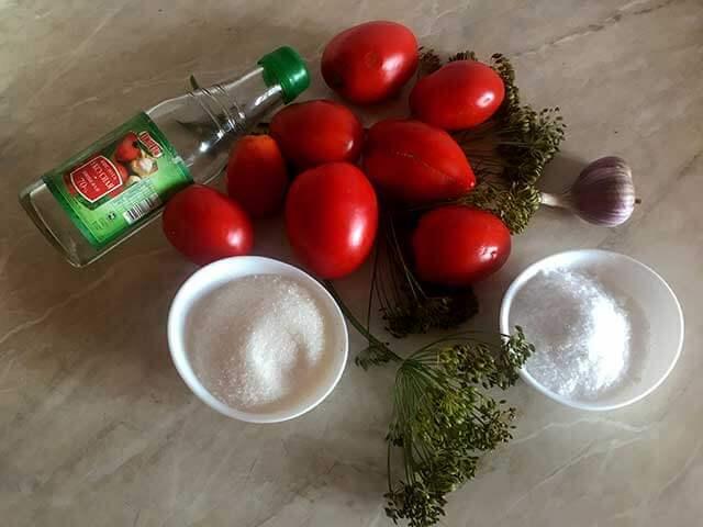 Ингредиенты для сладких томатов