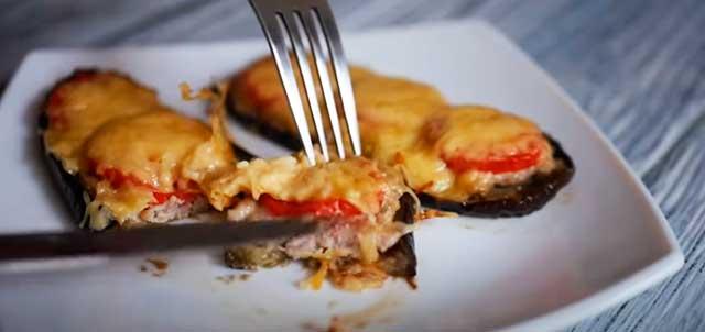 Баклажаны с фаршем, сыром и помидорами