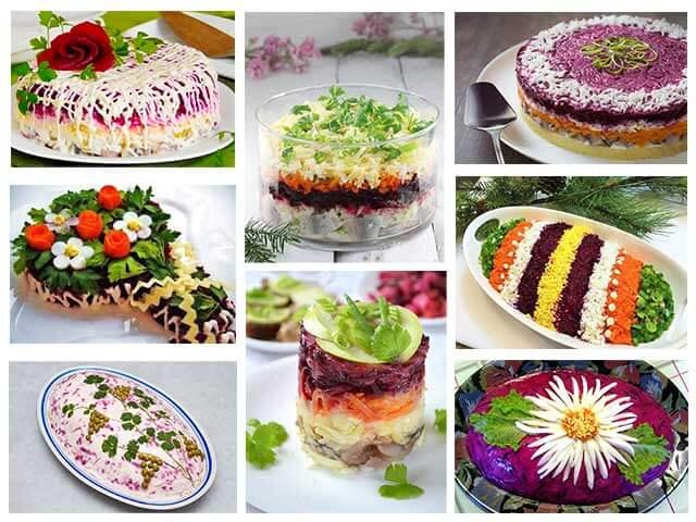 Варианты украшения салата