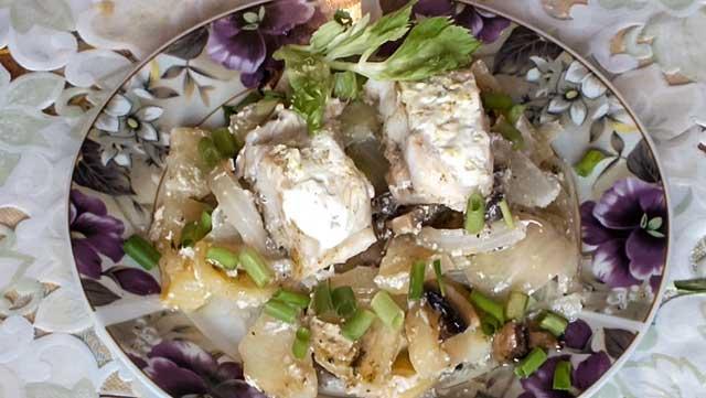 Морской окунь с картошкой