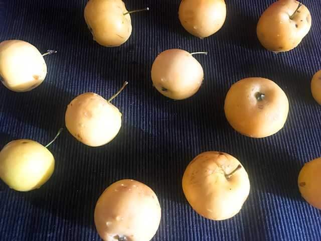 Яблоки на полотенце